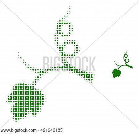 Grape Sprout Halftone Dot Icon Illustration. Halftone Array Contains Circle Pixels. Vector Illustrat