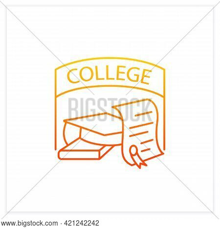 College Graduation Gradient Icon. Successful Training Completion. Books And Graduate Hat. Diploma.ba