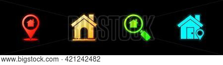 Set Location With House, House, Search And Icon. Vector