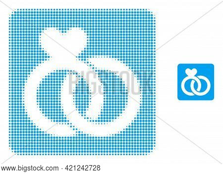 Wedding Rings Halftone Dotted Icon Illustration. Halftone Array Contains Round Points. Vector Illust