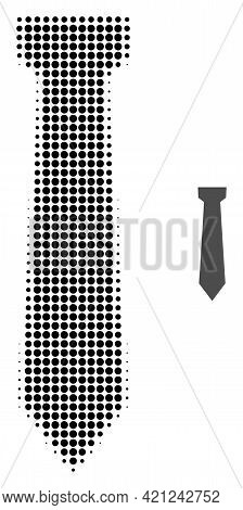 Tie Halftone Dotted Icon Illustration. Halftone Array Contains Round Pixels. Vector Illustration Of