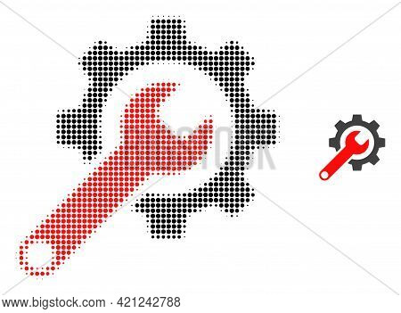 Repair Tools Halftone Dotted Icon Illustration. Halftone Pattern Contains Round Pixels. Vector Illus
