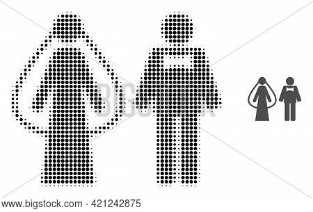 Weds Persons Halftone Dotted Icon Illustration. Halftone Array Contains Circle Elements. Vector Illu