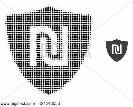 Shekel Guard Halftone Dotted Icon Illustration. Halftone Pattern Contains Circle Dots. Vector Illust