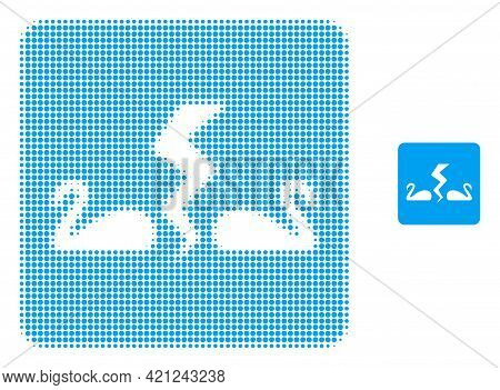Divorce Swans Halftone Dotted Icon Illustration. Halftone Pattern Contains Round Points. Vector Illu