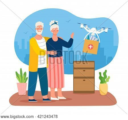 Elderly Couple Waiting For Medicine Drone Delivery. Elderly Male And Female Characters Are Recieving