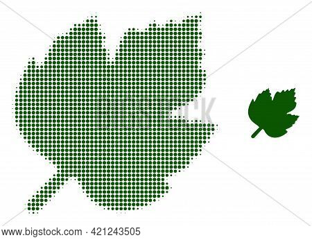Grape Leaf Halftone Dot Icon Illustration. Halftone Pattern Contains Round Dots. Vector Illustration