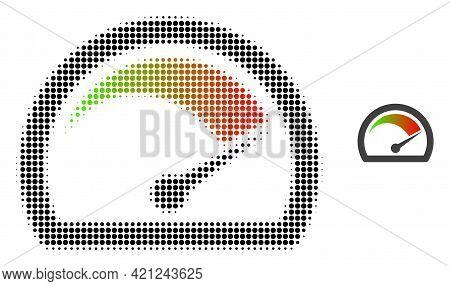 Speed Gauge Halftone Dot Icon Illustration. Halftone Array Contains Round Elements. Vector Illustrat