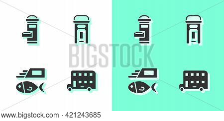 Set Double Decker Bus, London Mail Box, Fish And Chips And Phone Booth Icon. Vector
