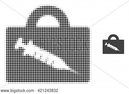 Vaccine Case Halftone Dot Icon Illustration. Halftone Array Contains Round Pixels. Vector Illustrati