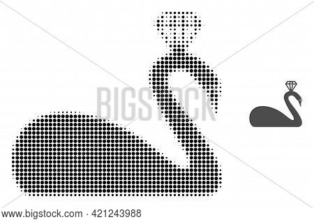 Crowned Swan Halftone Dot Icon Illustration. Halftone Array Contains Round Points. Vector Illustrati
