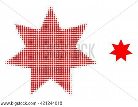 Eight Corner Star Halftone Dotted Icon Illustration. Halftone Pattern Contains Circle Elements. Vect