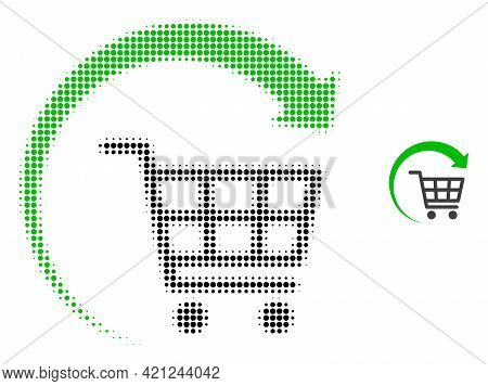 Repeat Shopping Cart Halftone Dotted Icon Illustration. Halftone Pattern Contains Circle Dots. Vecto