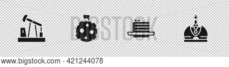 Set Oil Pump Or Pump Jack, Moon With Flag, Medovik And King Crown Icon. Vector