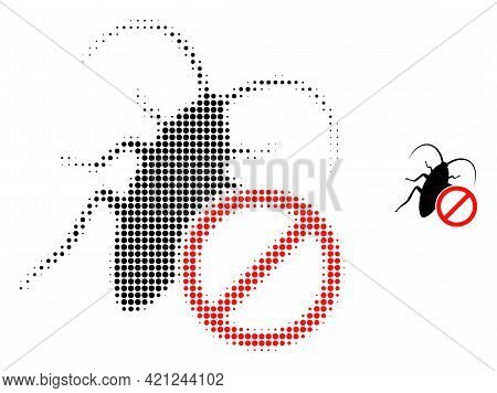 No Cockroach Halftone Dot Icon Illustration. Halftone Array Contains Round Dots. Vector Illustration