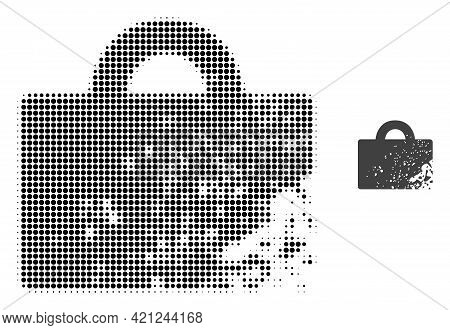 Damaged Luggage Halftone Dotted Icon Illustration. Halftone Array Contains Round Elements. Vector Il