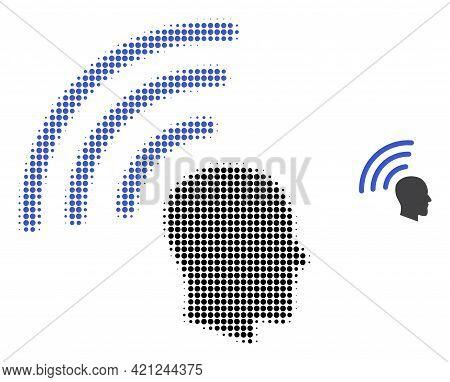 Telepathy Waves Halftone Dot Icon Illustration. Halftone Array Contains Round Elements. Vector Illus