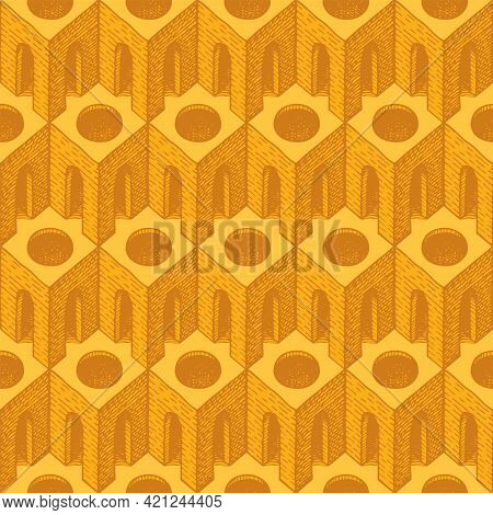Yellow Seamless Pattern With 3d Architectural Elements. Repeating Vector Texture With Hand-drawn Cub