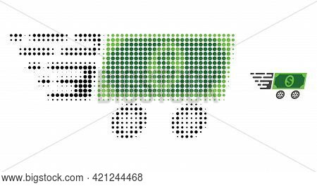 Dollar Banknote Wagon Halftone Dot Icon Illustration. Halftone Pattern Contains Circle Pixels. Vecto