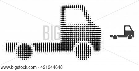 Delivery Car Chassi Halftone Dotted Icon Illustration. Halftone Pattern Contains Round Elements. Vec