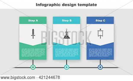Set Medieval Sword, Sword In The Stone And Flag. Business Infographic Template. Vector