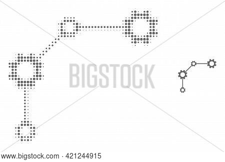 Gear Links Halftone Dotted Icon Illustration. Halftone Array Contains Round Pixels. Vector Illustrat