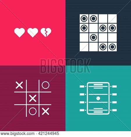 Set Pop Art Hockey Table, Tic Tac Toe Game, Board Of Checkers And Hearts For Icon. Vector