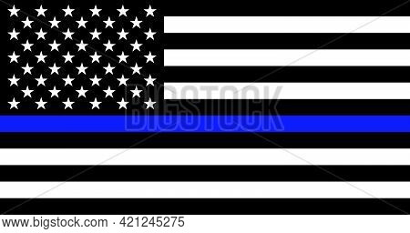 American Flag With Police Support Symbol Thin Blue Line. American Police In Society As The Force Whi