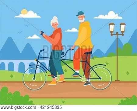 Cute Elderly Couple Is Riding Bicycle In The City. Cheerful Male And Female Characters Are Driving T