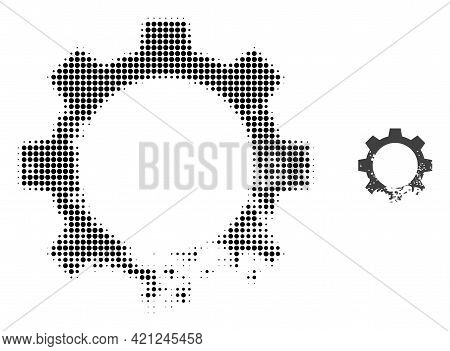 Damaged Gear Halftone Dotted Icon Illustration. Halftone Array Contains Round Elements. Vector Illus