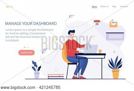 Young Male Character Sitting At Desk With Laptop And Organizing His Dashboard. Managing Your Dashboa