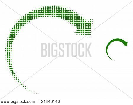 Rotate Forward Halftone Dotted Icon Illustration. Halftone Pattern Contains Round Elements. Vector I