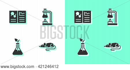 Set Experimental Mouse, Clinical Record, Plant Breeding And Test Tube Flask On Fire Icon. Vector