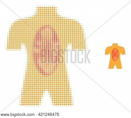 Human Anatomy Halftone Dotted Icon Illustration. Halftone Pattern Contains Round Dots. Vector Illust