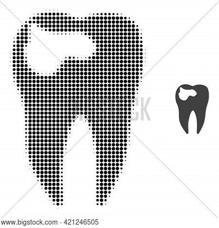 Tooth Caries Halftone Dot Icon Illustration. Halftone Pattern Contains Circle Elements. Vector Illus