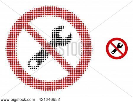 Stop Repair Halftone Dotted Icon Illustration. Halftone Pattern Contains Round Points. Vector Illust