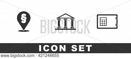 Set Location Law, Courthouse Building And Safe Icon. Vector