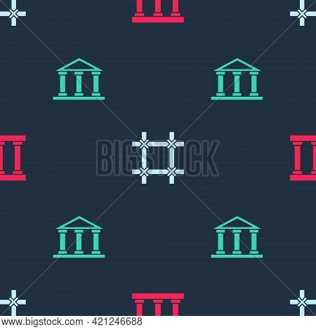 Set Prison Window, And Courthouse Building On Seamless Pattern. Vector