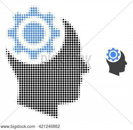 Human Intellect Gear Halftone Dotted Icon Illustration. Halftone Array Contains Circle Dots. Vector