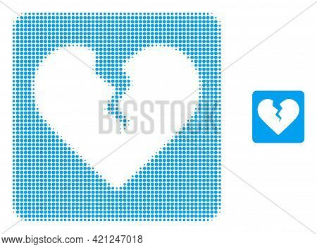Divorce Heart Halftone Dot Icon Illustration. Halftone Pattern Contains Round Elements. Vector Illus