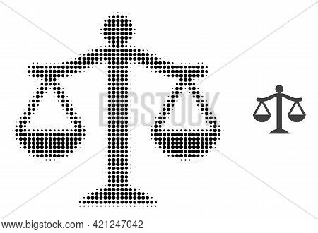Judge Halftone Dotted Icon Illustration. Halftone Pattern Contains Round Pixels. Vector Illustration