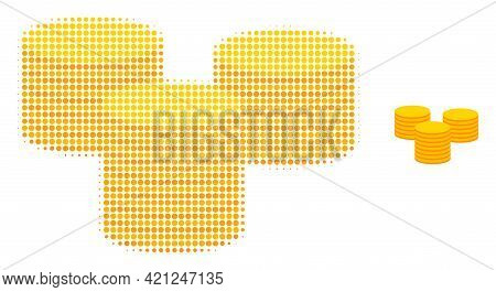 Gold Coins Halftone Dotted Icon Illustration. Halftone Pattern Contains Round Pixels. Vector Illustr