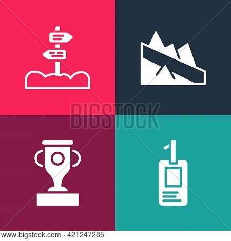 Set Pop Art Identification Badge, Award Cup, Mountain Descent And Road Traffic Signpost Icon. Vector