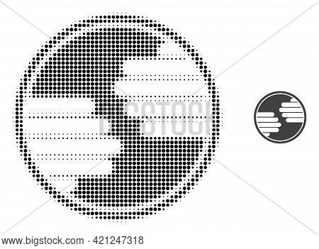Hands Circle Halftone Dotted Icon Illustration. Halftone Array Contains Circle Points. Vector Illust