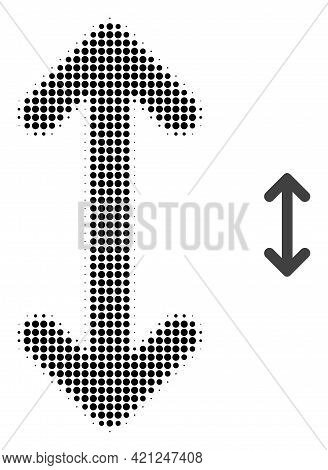 Swap Arrows Vertically Halftone Dot Icon Illustration. Halftone Pattern Contains Round Pixels. Vecto
