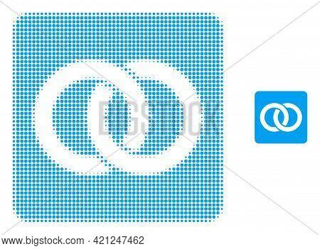 Wedding Rings Halftone Dot Icon Illustration. Halftone Pattern Contains Circle Dots. Vector Illustra