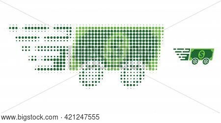 Dollar Banknote Express Halftone Dot Icon Illustration. Halftone Array Contains Round Elements. Vect