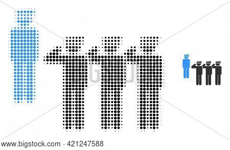 Military Unit Halftone Dotted Icon Illustration. Halftone Array Contains Round Dots. Vector Illustra