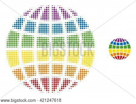 Lgbt Globe Halftone Dotted Icon Illustration. Halftone Pattern Contains Round Dots. Vector Illustrat