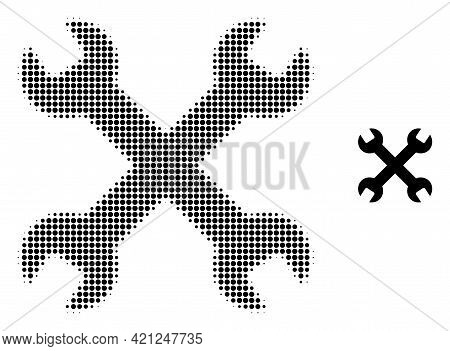 Wrenches Halftone Dotted Icon Illustration. Halftone Pattern Contains Round Elements. Vector Illustr